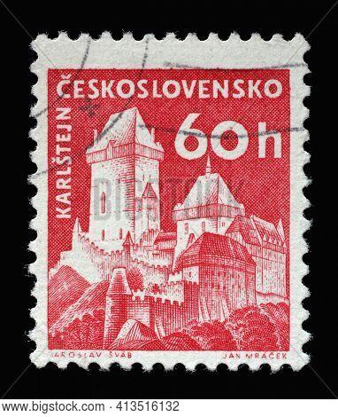 ZAGREB, CROATIA - SEPTEMBER 18, 2014: Stamp printed in Czechoslovakia shows Karlstejn castle, series castle, circa 1960
