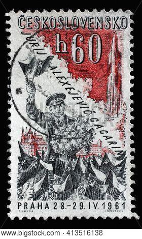ZAGREB, CROATIA - SEPTEMBER 18, 2014: Stamp printed in Czechoslovakia shows Yuri Gagarin, the series Yuri Gagarin's Visit to Prague, circa 1961