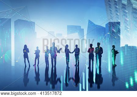 Silhouettes Of Diverse Business People, Teamwork And Stock Market Changes, Candlesticks, Double Expo