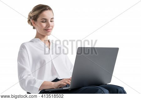 Woman In Office White Shirt Working With Laptop, Looking At The Screen, Isolated Over White Backgrou