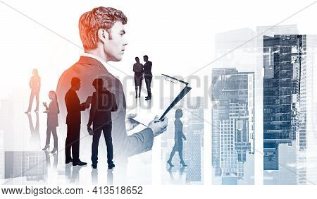 Office Man In Suit With Business Files In Hands, Silhouettes Of Business People, Teamwork. Double Ex