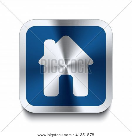 Square Metal Button - Blue House Icon