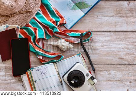 Travel Concept Banner Flat Lay.items For Summer Vacation: Passport,swimsuit,hat,money,mexico Map, Ca