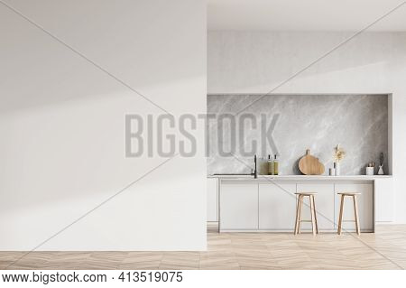 Modern Contemporary Design Kitchen Room Interior. Dining Island With Two Stools. Parquet Flooring. W