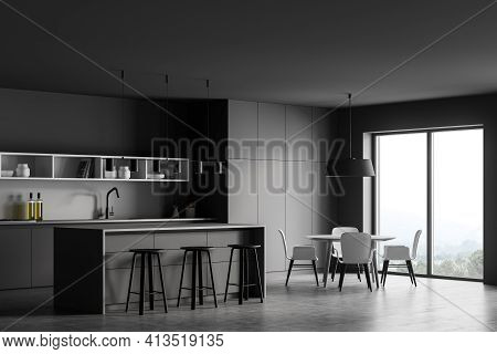 Grey Kitchen Room With Dining Table And Bar Chairs, Side View, Grey Concrete Floor. Kitchen Set Inte