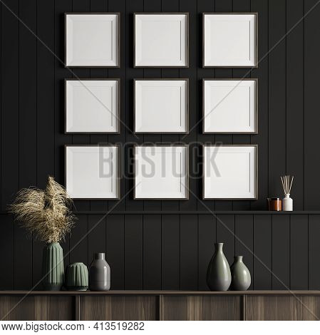 Living Room Interior With A Cosy Wooden Sideboard. Dark Wall Is Decorated With Nine Square Posters.