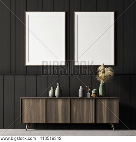 Living Room Interior With A Cosy Wooden Sideboard. White Wall Is Decorated With Two Vertical Poster.