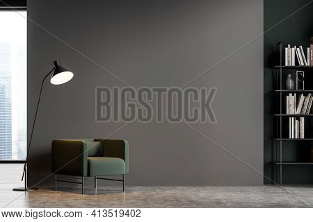 Dark Grey Modern Living Room Interior With Panoramic Window Furnished By Green Armchair, Bookshelf A