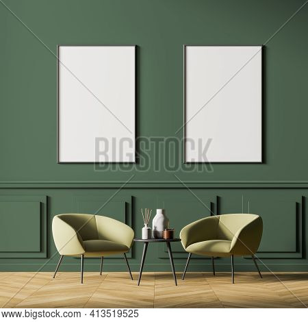 Waiting Room Interior With Two Posters In A Row On The Green Wall, Comfortable Beige Armchairs And S