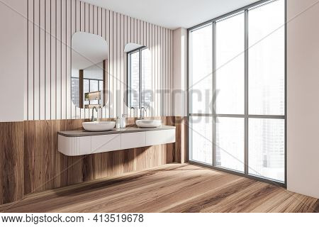 Bathroom With Two Sinks, Parquet Floor And Wooden Pink Wall With Panoramic Windows, Side View. Moder