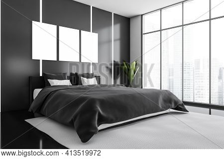 Blank Canvas Posters In Black And White Bedroom Interior With Furniture On Black Floor, Plant In The