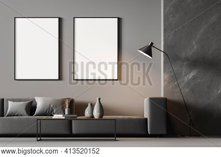 Modern Living Room Interior With Arch And Three White Poster On Dark Wall. Grey Sofa With Cushions,