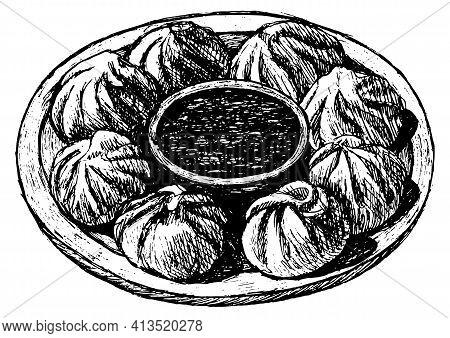 Momos - Nepal Dumplings. Realistic Sketch Illustration. Chinese Food. Design For Flyer, Restaurant M