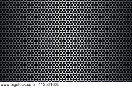 Metal Hexagon Texture. Steel Honeycomb Background. Futuristic Metal Mesh. Light Perforated Sheet. In
