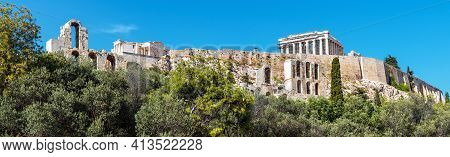 Panorama Of Acropolis, Athens, Greece. Acropolis Is Famous Landmark And Monument Of Athens. Panorami