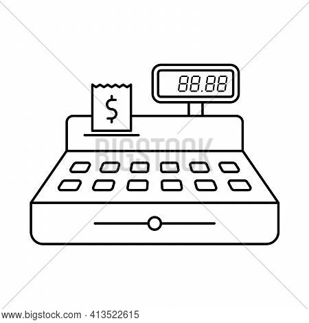 Cash Register Outline Vector Illustration Isolated On White Background. Cash Register With Price And
