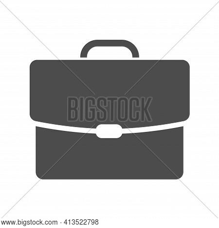 Portfolio Silhouette Vector Icon Isolated On White. Briefcase Icon For Web, Mobile Apps, Ui Design A