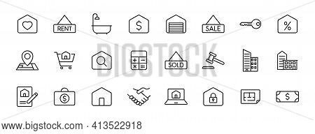 Real Estate Outline Vector Icons Isolated On White. Real Estate Icon Set For Web And Ui Design, Mobi