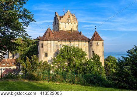 Meersburg Castle At Lake Constance Or Bodensee, Germany, Europe. Medieval Castle Is Landmark Of Town