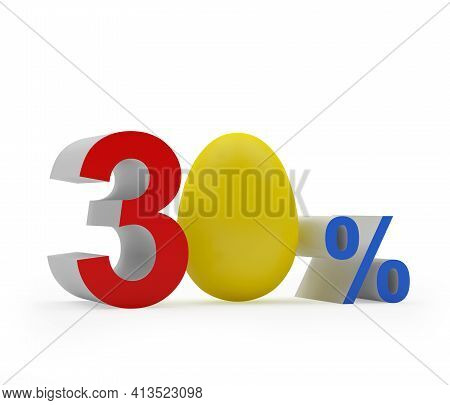 Thirty Percent Discount With Colorful Easter Egg. 3d Illustration