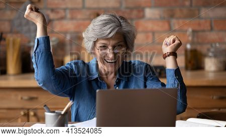 Excited Mature Lady Scream Achieving Success In Learning Computer App