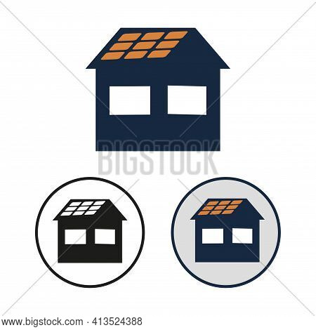 Simple Vector Icon Of The Home With Photovoltaic Cell On The Roof.  Set Of Round Black And White And
