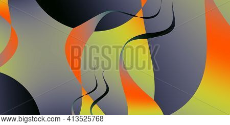 Fluid Abstract Background With Colorful Gradient. Shining Crooked Multicolor Illustration In Cranked