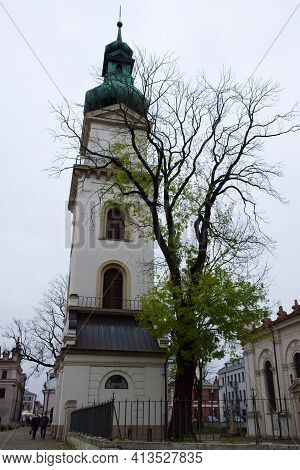 Zamosc, Poland, November 10, 2020. Bell Tower Near Cathedral Of The Resurrection And St. Thomas The