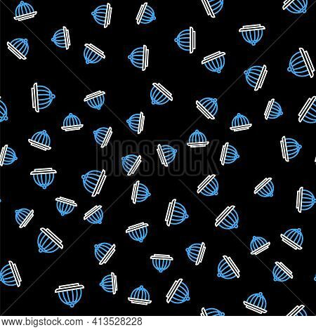 Line Pudding Custard With Caramel Glaze Icon Isolated Seamless Pattern On Black Background. Vector