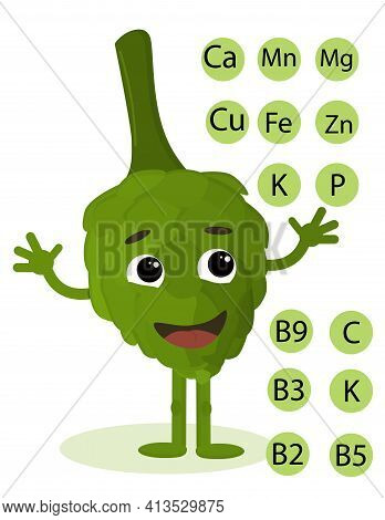 Illustration Of A Fresh Green Artichoke In A Cartoon Style, Showing The Vitamins And Minerals Contai