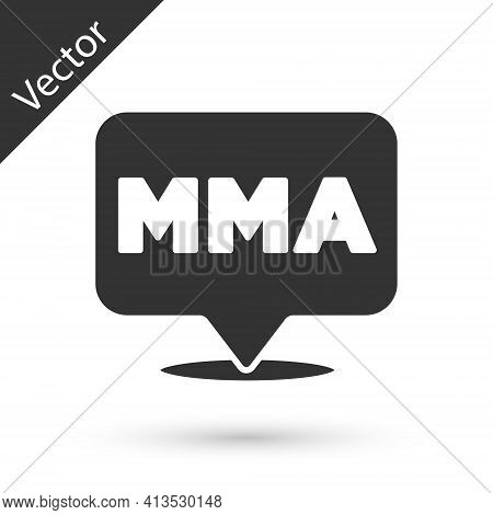 Grey Fight Club Mma Icon Isolated On White Background. Mixed Martial Arts. Vector