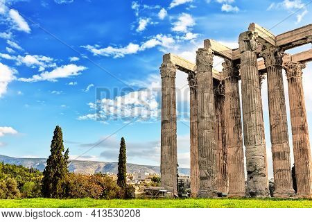 The Temple Of Olympian Zeus At The Center Of Athens, Greece. Columns Of The Olympian Zeus In Sunny D