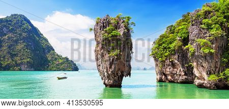 Panorama Of Famous James Bond Island Near Phuket In Thailand. Travel Photo Of James Bond Island With