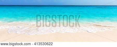 Panorama Of Wave Of The Sea On The Sand Beach In Punta Cana, Dominican Republic. Landscape Of Tropic