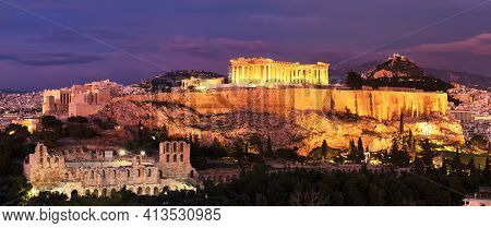 Panorama Of Athens With Acropolis Hill At Dramatic Sunset, Greece. The Acropolis Of Athens Located O