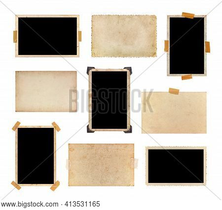 Set Of Vintage Photos Isolated On A White Background. Collection Of Old Photos, Each One Is Shot Sep