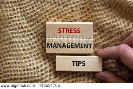 Stress Management Tips Symbol. Wooden Blocks With Words 'stress Management Tips'. Beautiful Canvas B