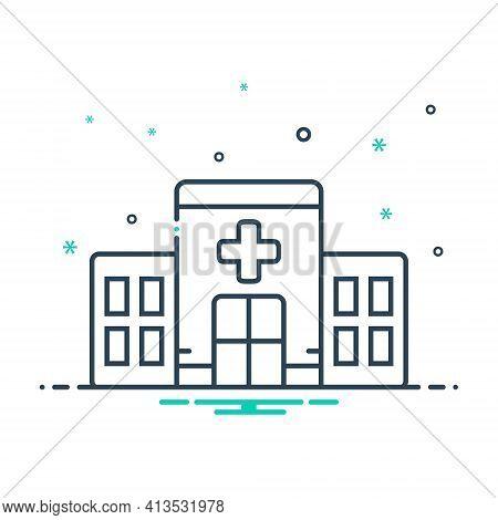 Mix Icon For Clinic Building Apothecary Hospital Asylum Dispensary