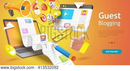 3d Vector Conceptual Illustration Of Commercial Blog Posting And Copywriting.