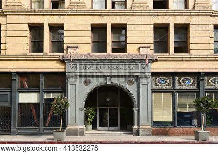LOS ANGELES - NOVEMBER 19, 2018: Hotel Barclay, the 4th Street entrance, originally The Van Nuys Hotel, it was one of the finest hotels in Los Angeles.
