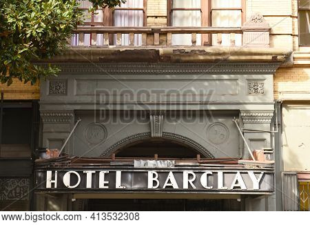LOS ANGELES - NOVEMBER 19, 2018: Hotel Barclay, Spring Street Awning over entrance was one of the finest hotels in Los Angeles.