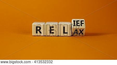 Relief And Relax Symbol. Turned A Cube And Changed The Word 'relax' To 'relief'. Beautiful Orange Ba