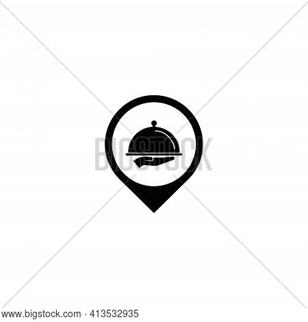 Vector Illustration Of A Hand Holding Cloche Tray In Map Pointer For A Restaurant Icon Symbol. Direc