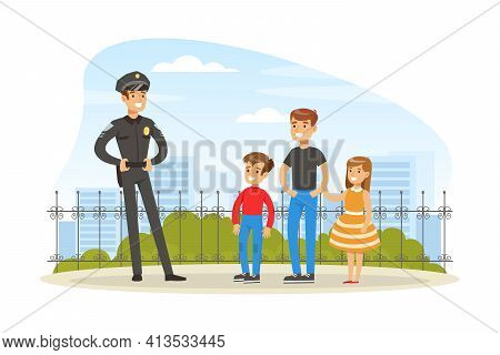 Policeman Or Cop As Warranted Law Employee Talking To People Outdoor Vector Illustration