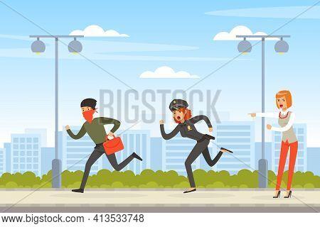 Policeman Or Cop As Warranted Law Employee Chasing Criminal Escaping With Handbag Vector Illustratio