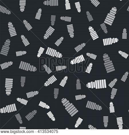 Grey Led Light Bulb Icon Isolated Seamless Pattern On Black Background. Economical Led Illuminated L