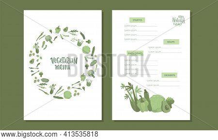 Vegetarian Menu Handwritten Sign With Vegetables. Vector Stock Illustration For Design Template Vege