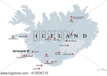 Volcanoes Of Iceland That Erupted Since Human Settlement, Political Map. Eighteen Volcanoes Shown On