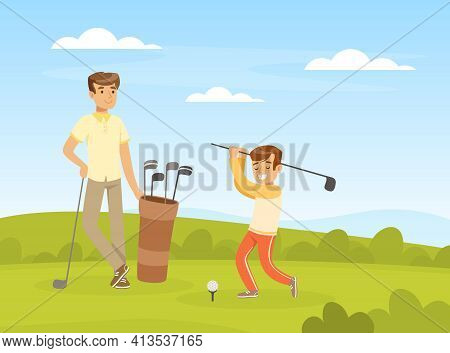 Cheerful Male Playing Golf With His Son Hitting Ball Into Hole With Club Vector Illustration