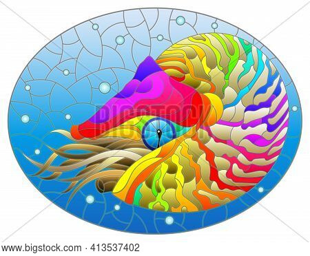 Stained Glass Illustration With A Bright Abstract Nautilus On A Background Of Water And Air Bubbles,